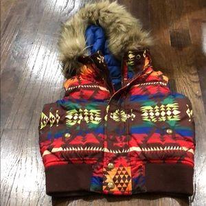 Ralph Lauren vibrant puffer best Aztec print.